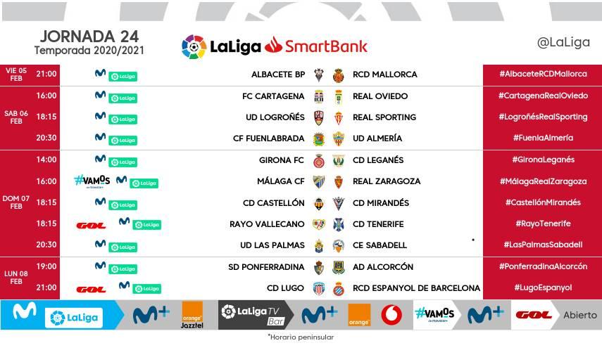 Horarios de la jornada 24 en LaLiga SmartBank
