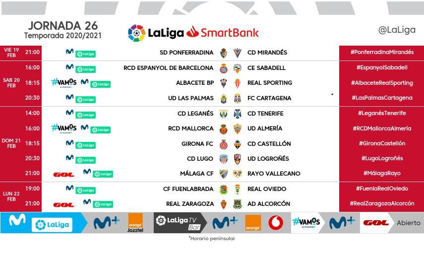 Horarios J26 LaLiga SmartBank