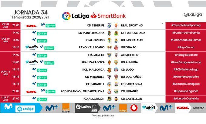 Horarios de la jornada 34 de LaLiga SmartBank