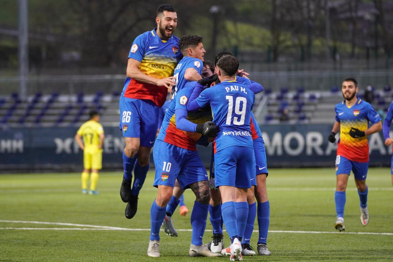 Jugadores del Andorra celebran un gol