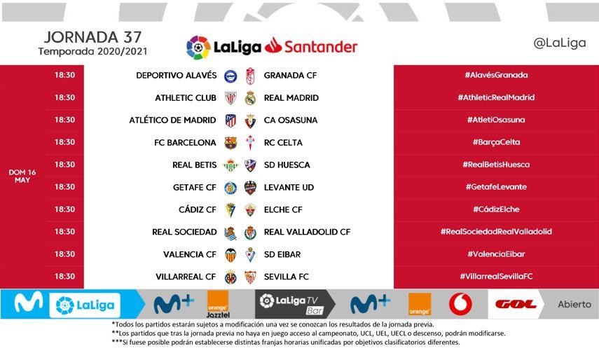 Horarios de la jornada 37 de LaLiga Santander
