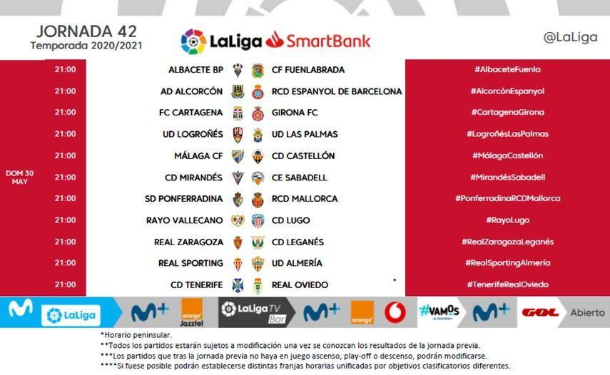 Horarios de la jornada 42 de LaLiga SmartBank