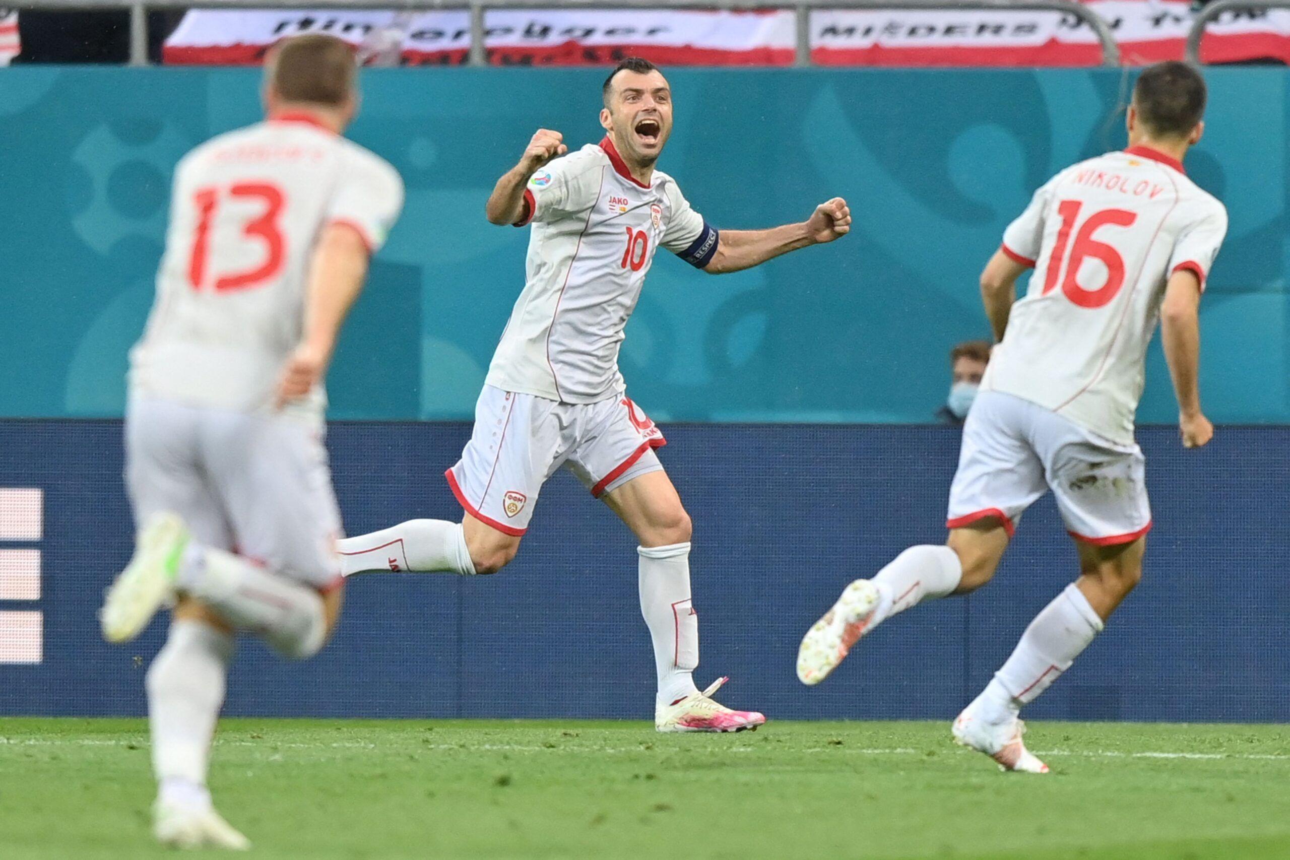 Goran Pandev celebra el gol ante Austria que supuso el 1-1
