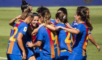 Celebración de un gol del FC Barcelona Femení.