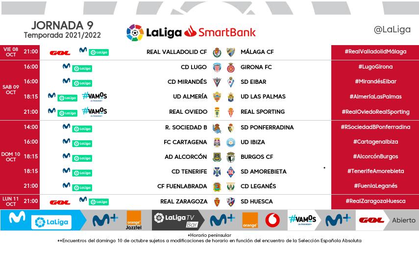 Horarios de la jornada 9 de LaLiga SmartBank